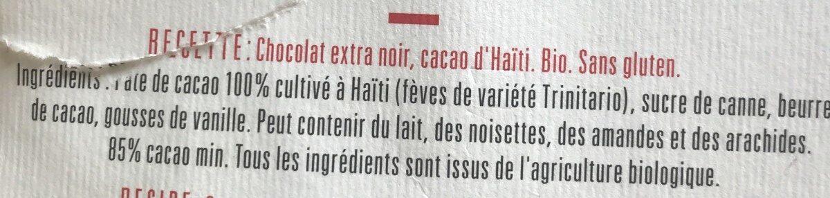 Chocolat Extra Noir 85% - Ingrédients