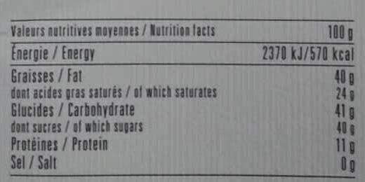 Chocolat au lait des Alpes recette n°11 - Informations nutritionnelles