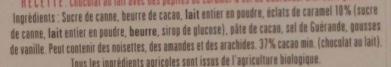Chocolat au Lait Pépites de Caramel & Sel de Guérande - Ingredients