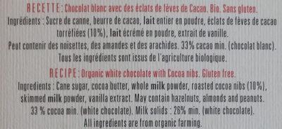 Recette n°14 - Chocolat blanc éclats de fèves de cacao - Ingredienti - fr