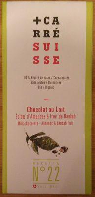Chocolat au lait Bio Éclats d''Amandes & fruit de Baobab N°22 - Produit