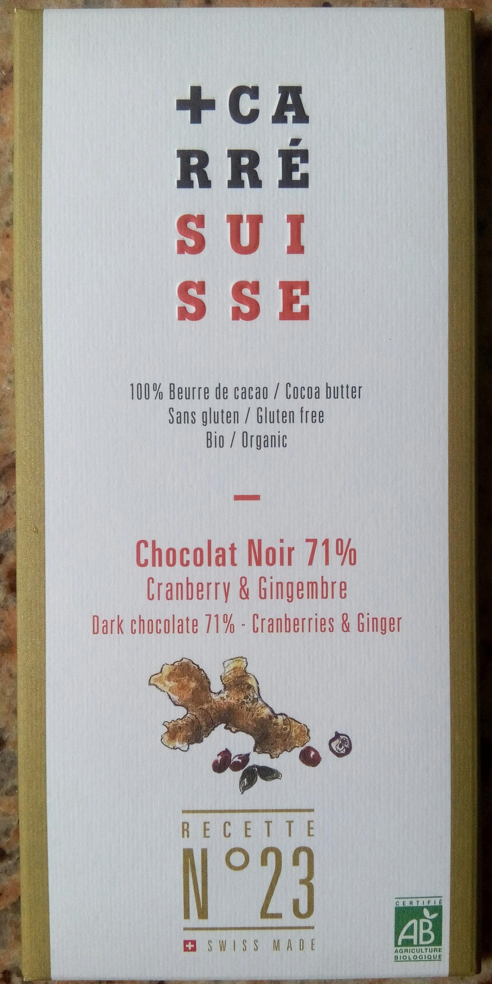 Chocolat noir 71% Cranberry & Gingembre Recette n°23 - Produit