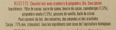 Chocolat noir 71% Cranberry & Gingembre Recette n°23 - Ingrédients