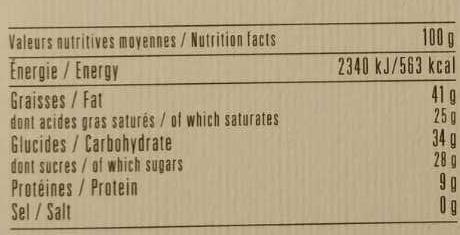 Chocolat noir 71% Cranberry & Gingembre Recette n°23 - Informations nutritionnelles