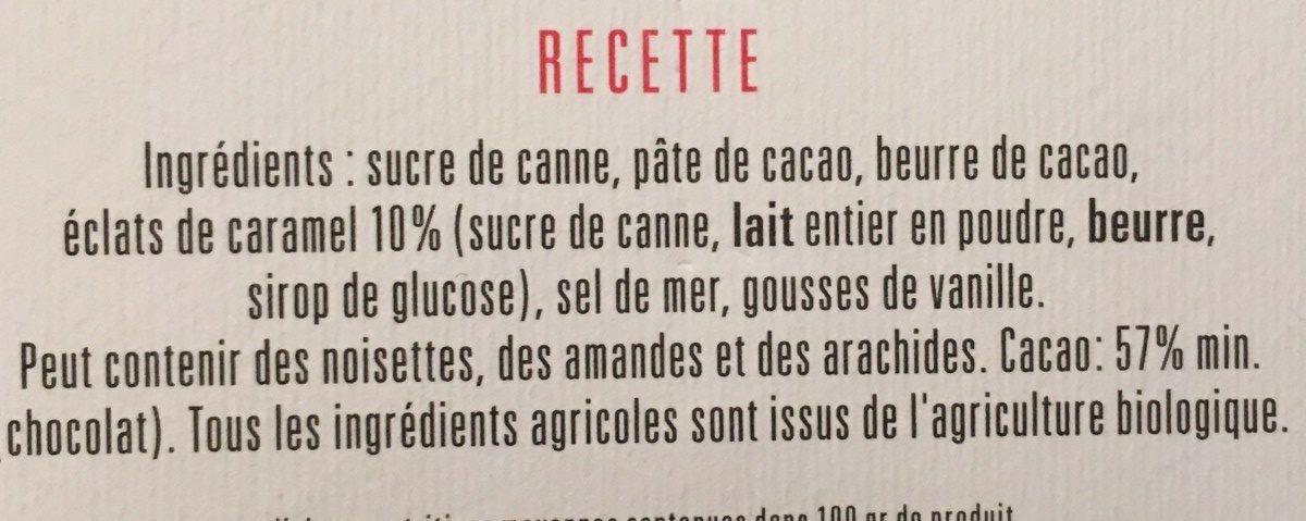 Chocolat noir caramel & sel de Guérande bio recette N°33 - Ingrédients