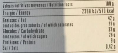 Chocolat Noir 71% Pointe de sel d'Islande - Informations nutritionnelles