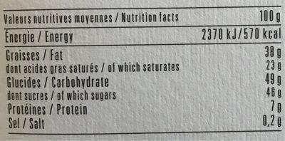 Chocolat au lait quinoa soufflé - Informations nutritionnelles