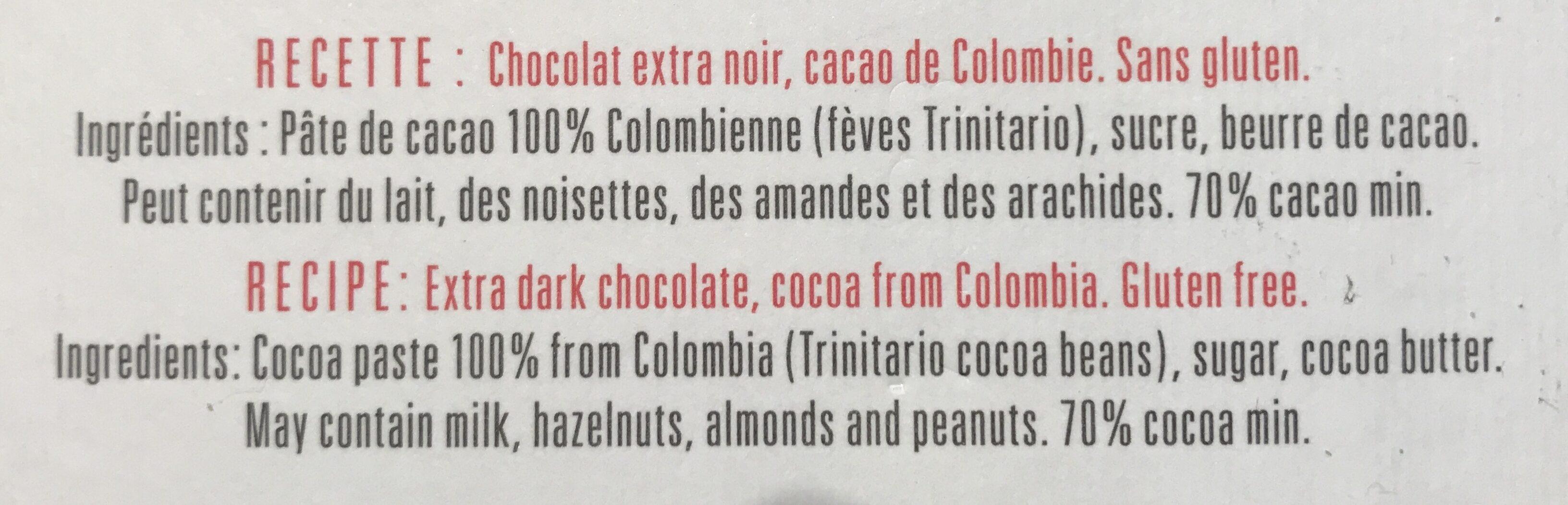 Chocolat Extra noir 70 % - Ingrédients - fr