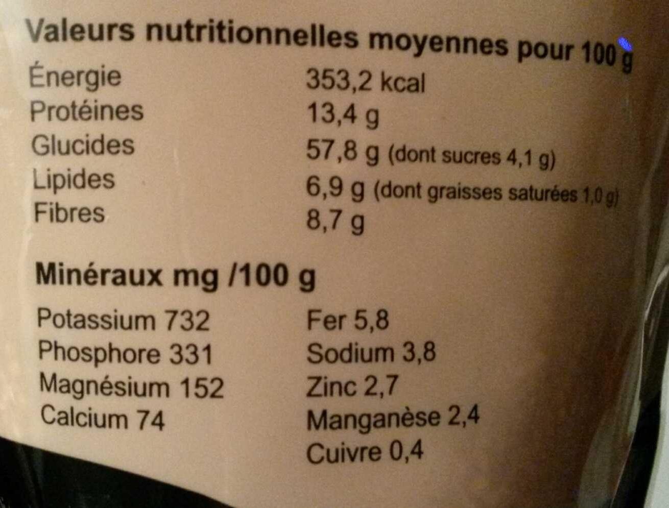 quinoa d'Anjou - Informations nutritionnelles