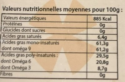 Huile vierge 1er pression a froid colza - Informations nutritionnelles - fr