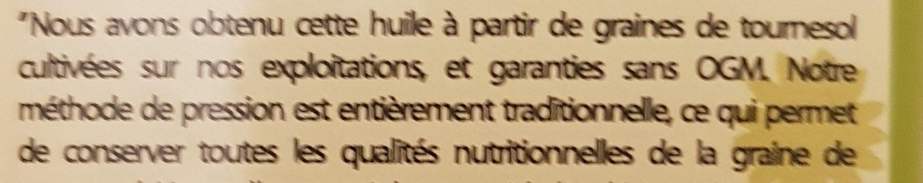 Huile de tournesol - Ingredients
