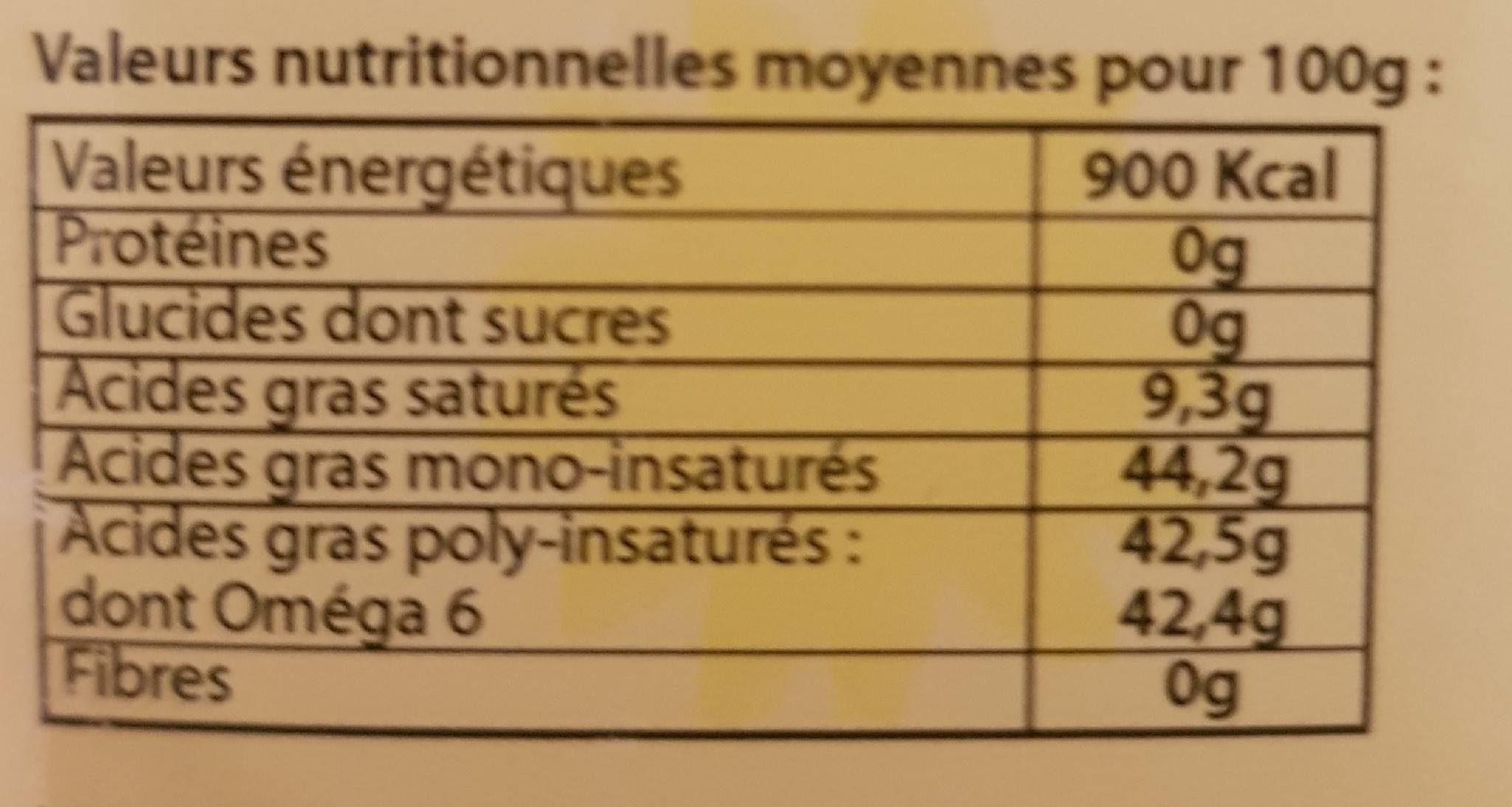 Huile de tournesol - Nutrition facts