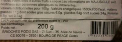 Mini Saint Génix sachet 200g Podis - Nutrition facts - fr