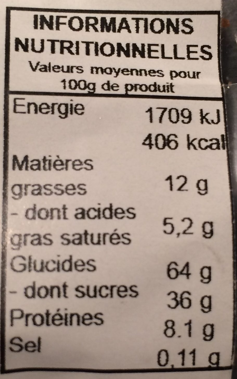 Brioche St Genix - Nutrition facts
