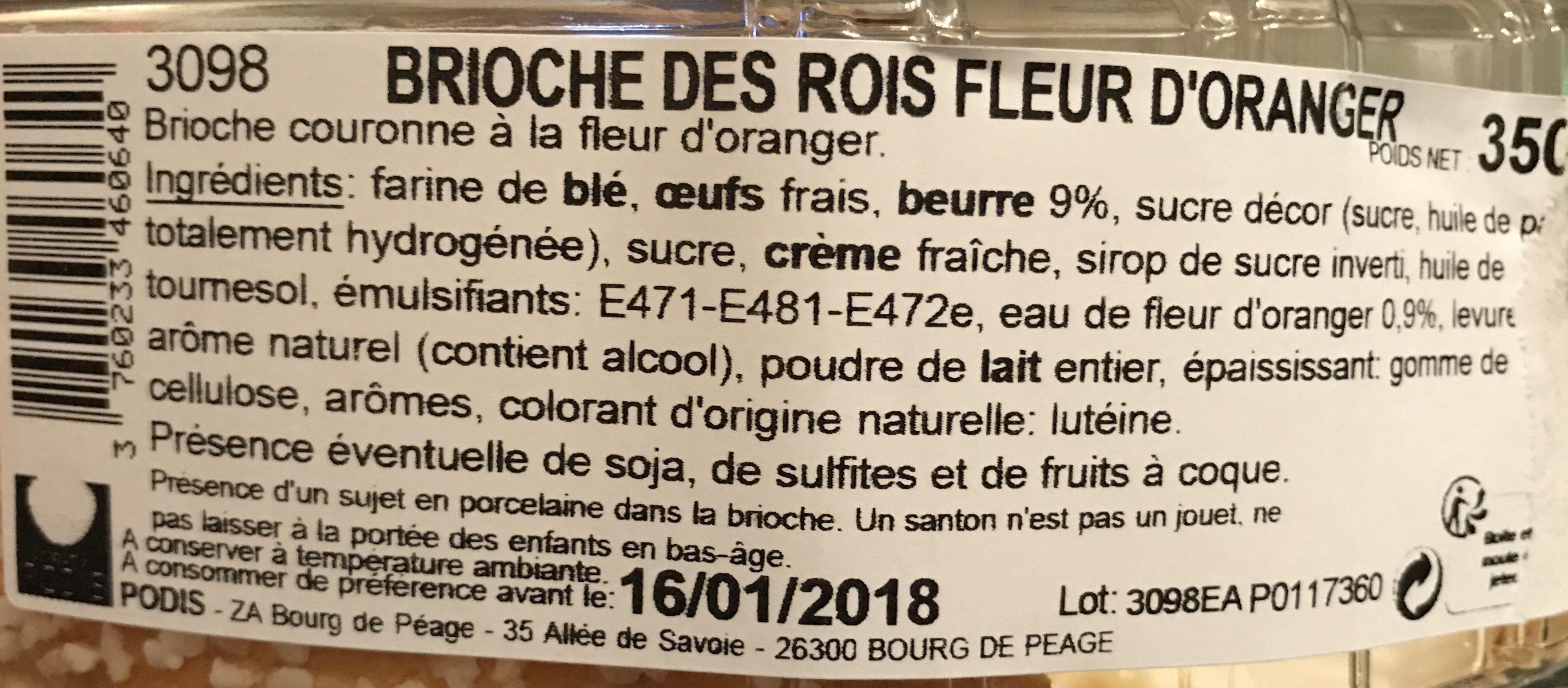 Brioche des Rois à la fleur d'oranger - Ingrediënten - fr