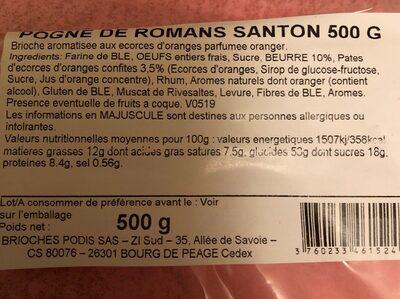 Pognes de Romans - Voedingswaarden - fr