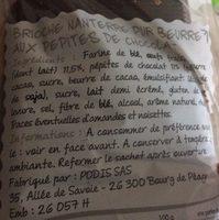 Cuit sur place Brioche Nanterre aux pépites de chocolat pur beurre la brioche de 400 g - Ingrediënten