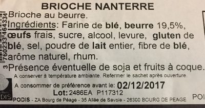 Brioche Nanterre - Ingrédients - fr
