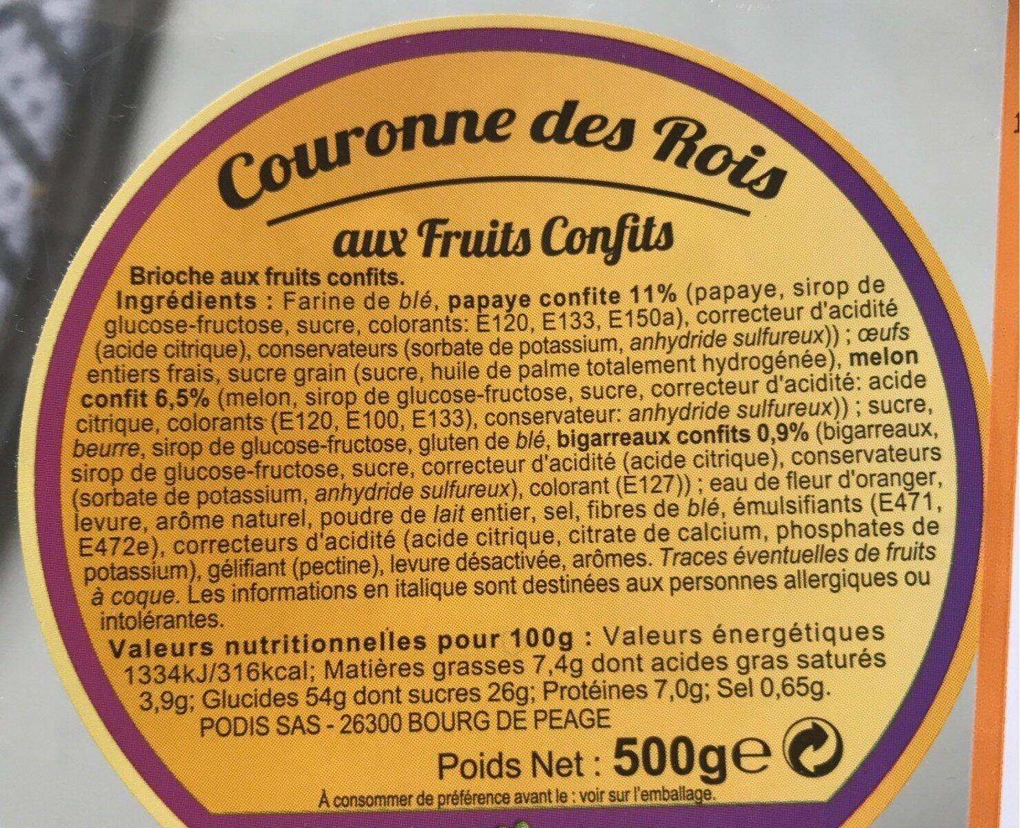 Couronne rois fruits confirs - Voedingswaarden - fr