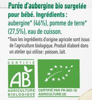 Purée surgelée d'aubergine bio lisse pour bébé dès 6 mois - Ingrédients - fr