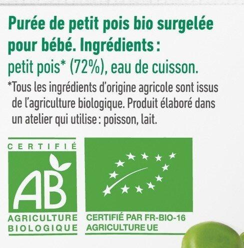 Purée surgelée de petit pois bio lisse pour bébé dès 4 mois - Ingrédients - fr