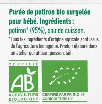 Purée surgelée de potiron bio lisse pour bébé dès 4 mois - Ingrédients - fr