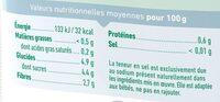 Purée surgelée de potiron bio lisse pour bébé dès 4 mois - Informations nutritionnelles - fr