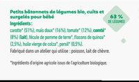 Bâtonnets surgelés bio recette paysanne, touche de comté & quinoa pour bébé dès 12 mois - Ingredients