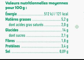 Bâtonnets surgelés bio recette paysanne, touche de comté & quinoa pour bébé dès 12 mois - Nutrition facts