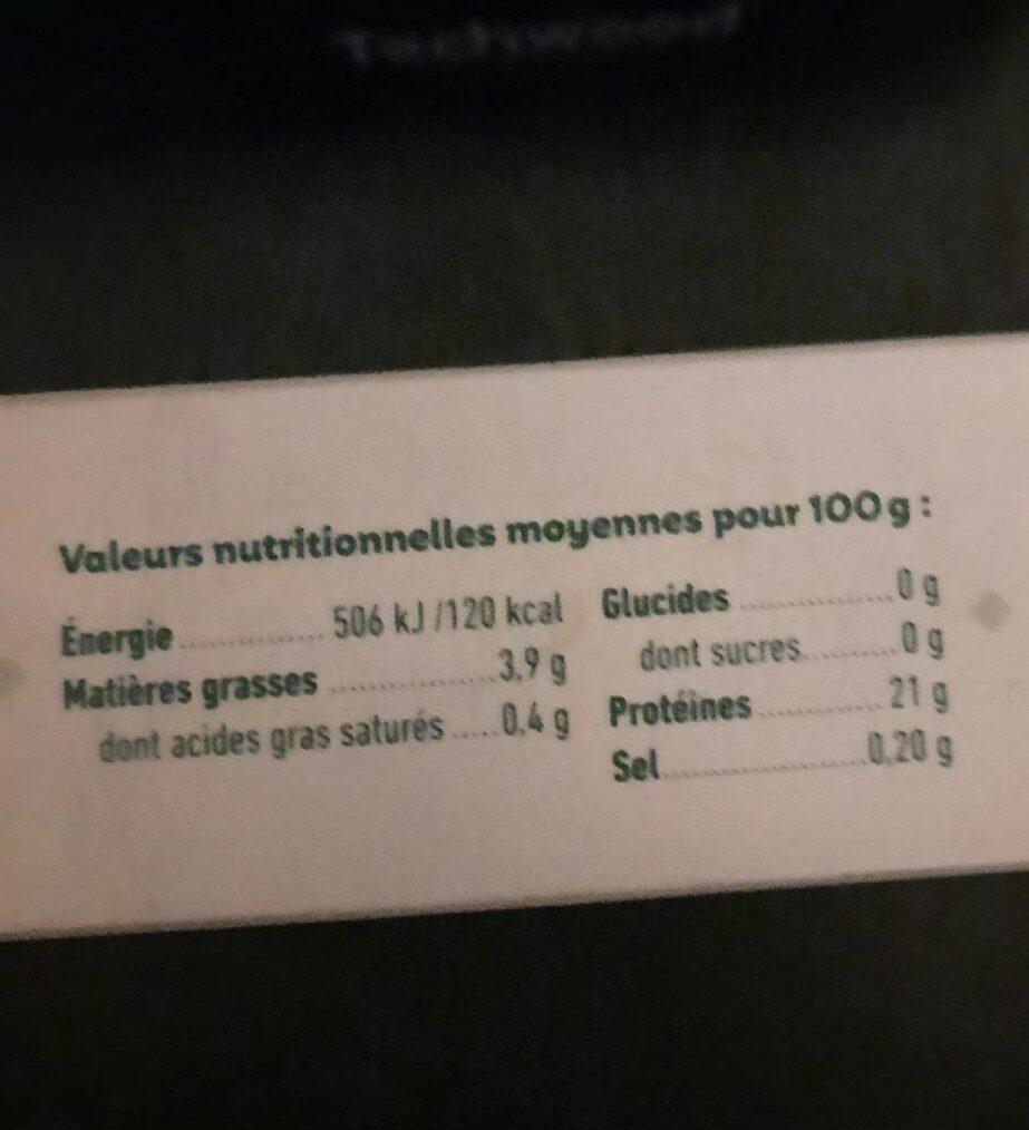 Hachés de dinde bio cuite et surgelée pour bébé dès 6 mois - Informations nutritionnelles - fr