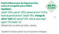 Bâtonnets surgelés bio jardinière de légumes, touche de chèvre pour bébé dès 12 mois - Ingrédients - fr