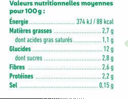Bâtonnets surgelés bio jardinière de légumes, touche de chèvre pour bébé dès 12 mois - Informations nutritionnelles - fr