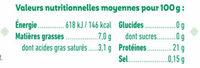 Hachés de boeuf bio cuit et surgelé pour bébé dès 6 mois - Informations nutritionnelles