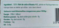 Haché de poisson blanc sauvage cuit et surgelé pour bébé - Informations nutritionnelles - fr