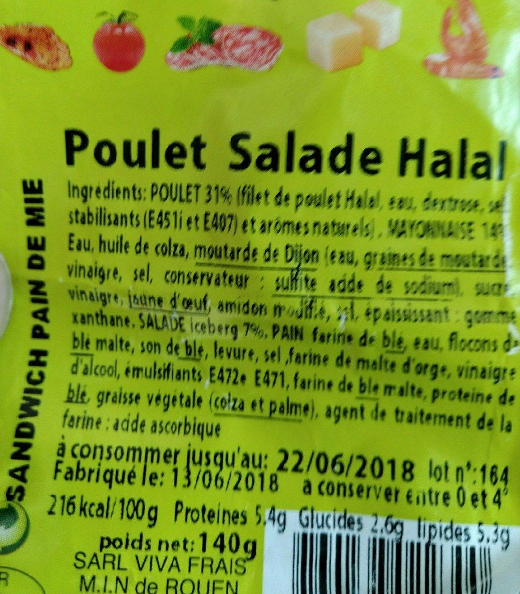 Sandwich poulet salade halal - Ingrédients - fr