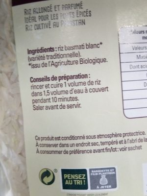Riz basmati blanc - Ingredients