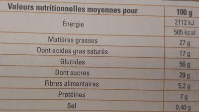 Petit beurre avec tablette de chocolat noir bio - Nutrition facts - fr