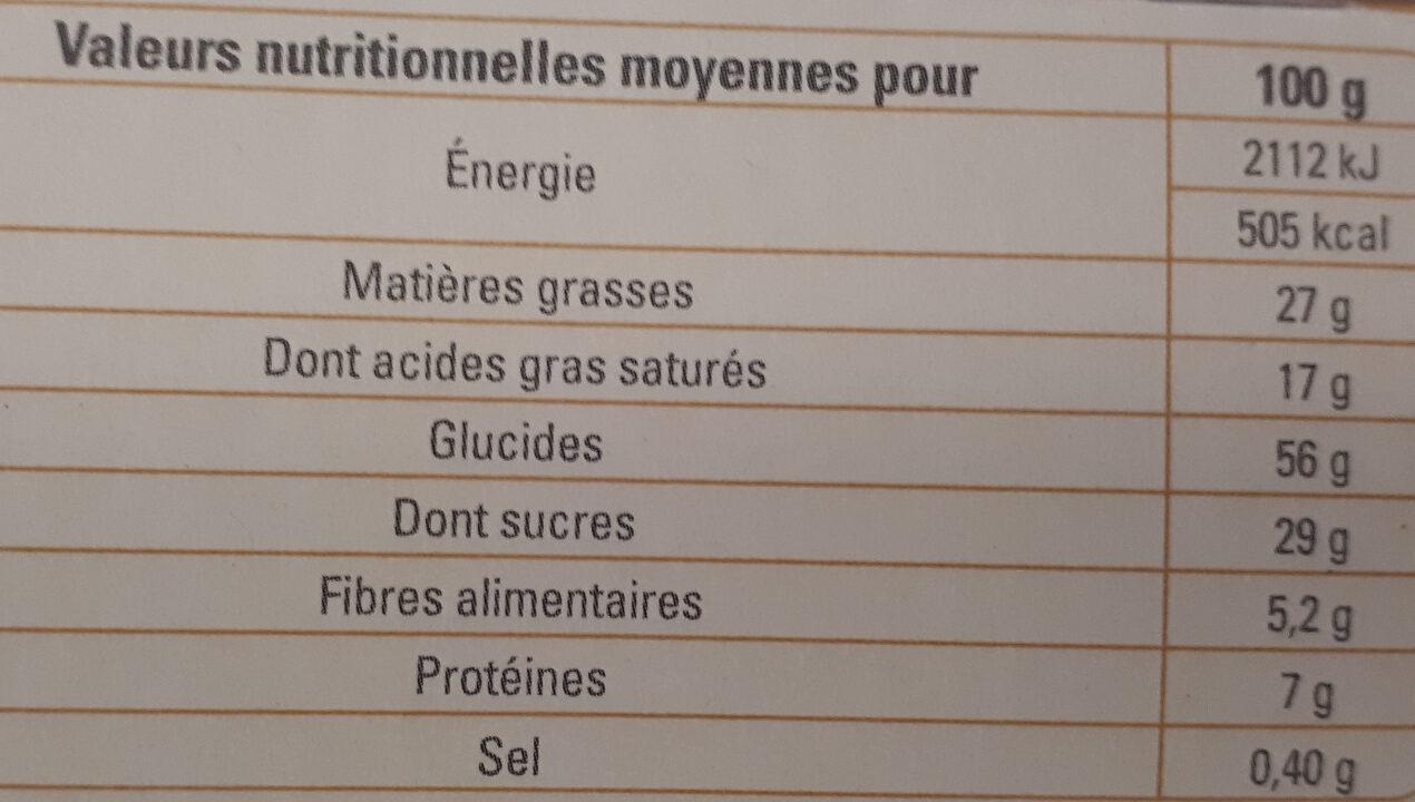 Petit beurre avec tablette de chocolat noir - Informations nutritionnelles - fr