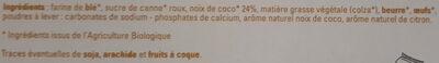 Sablés à la noix de coco saveur citron - Ingrédients - fr
