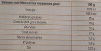 Sablés à la noix de coco saveur citron - Informations nutritionnelles - fr