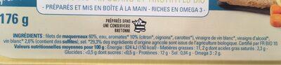 Filets de maqueraux marinés au vin blanc et aromates bio - Informations nutritionnelles - fr