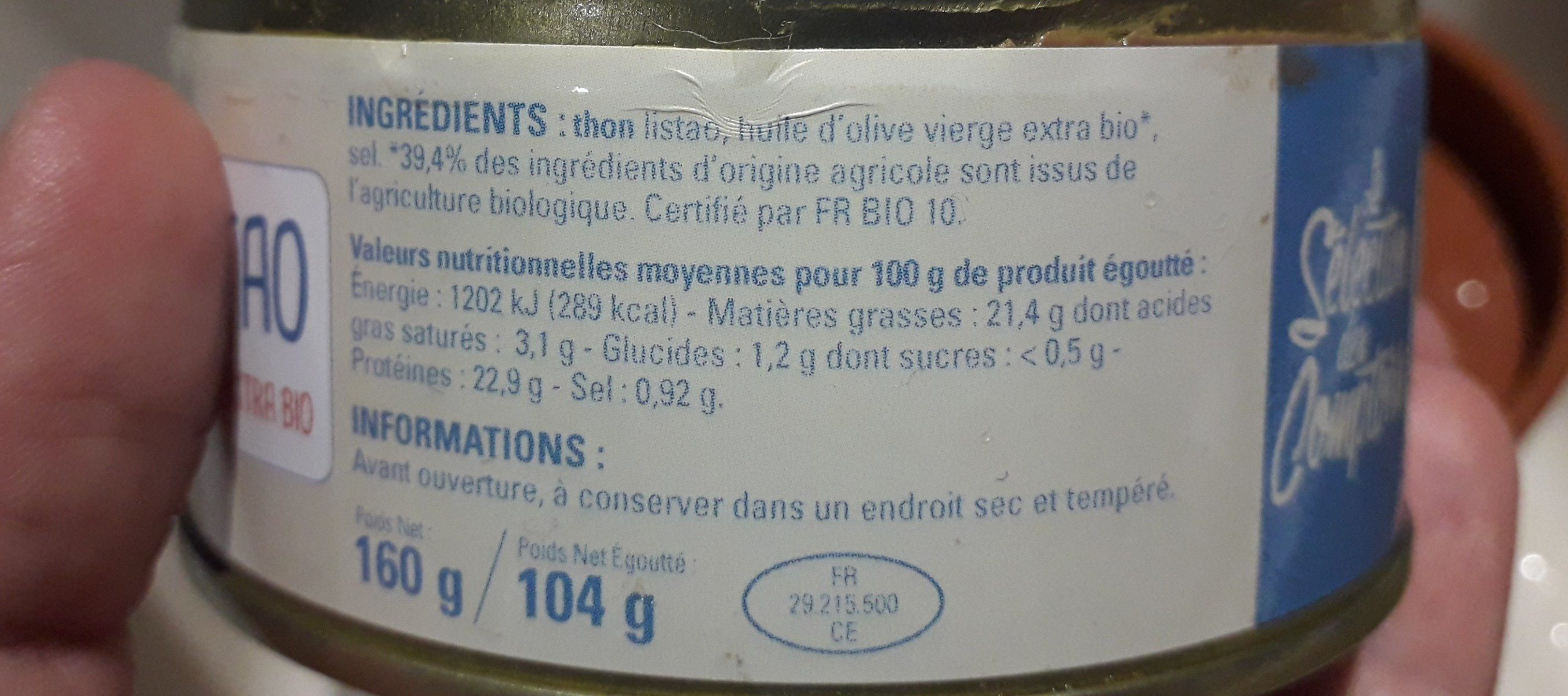 Thon à l'huile d'olive - Ingredienti - fr