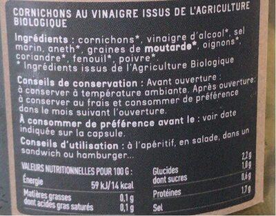Cornichons croquants au vinaigre - Nutrition facts - fr