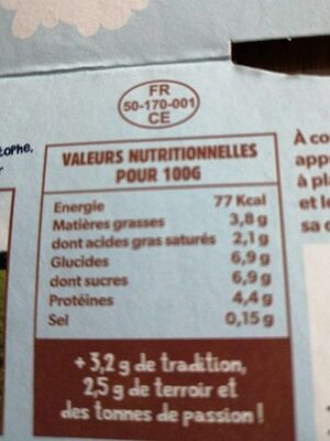 Ferme du moulinet à St mère église - Nutrition facts - fr
