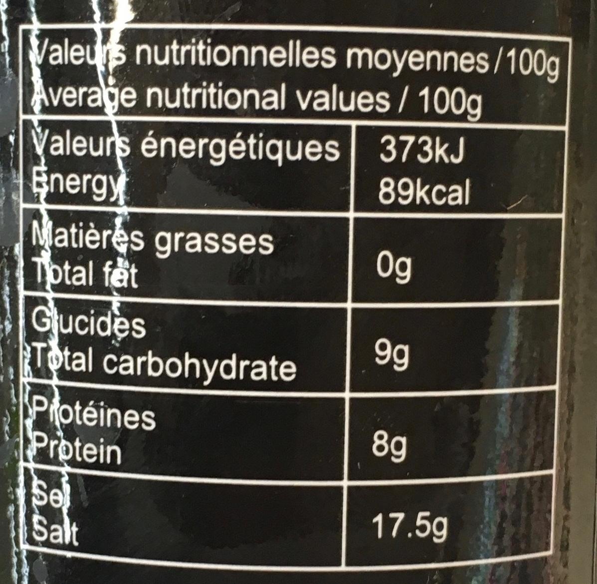 Sauce soja bio - Informations nutritionnelles - fr