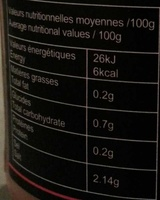 Gingembre rose mariné pour sushi - Nutrition facts - fr
