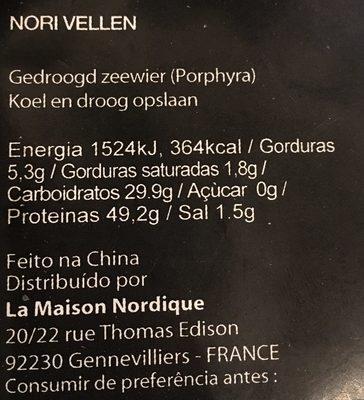 Sushi Nori - Ingrédients - fr