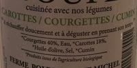 Soupe Carottes / Courgettes / Cumin - Ingrédients - fr