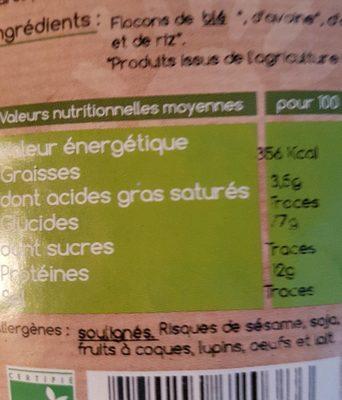Flocons 5 céréales - Informations nutritionnelles - fr