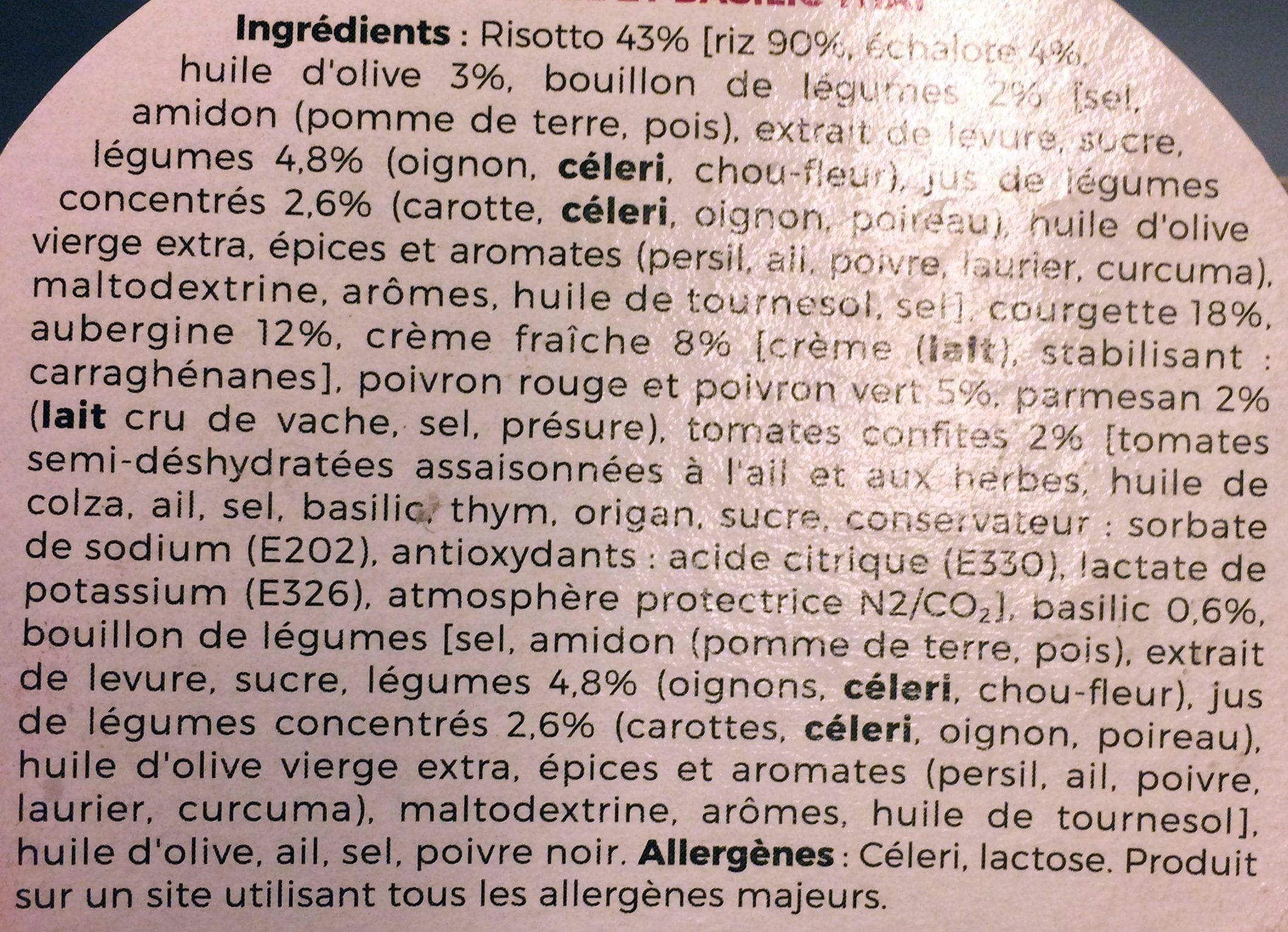 Risotto aux légumes du soleil et basilic thaï - Ingrédients - fr